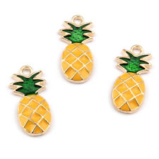 100pcs Cute Pineapple Alloy Enamel Pendants Hot Summer Dangle Charms Craft 25mm