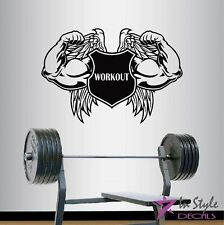 Wall Vinyl Workout Emblem Strong Arms Wings Bodybuilding Gym Sports Sticker 257