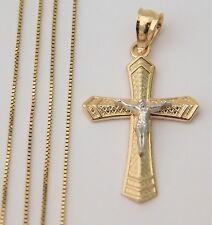 "Real 14k Yellow White Gold Jesus Cross Crucifix Pendant Charm Box chain 18"" Inch"