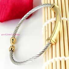 Jewelry Gold Silver Two-Tone Stainless Steel Fashion Link Women's Men's Bracelet