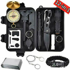 Survival Tools Kit 12 in 1 Tactical Camping Emergency Outdoor Military EDC Gear