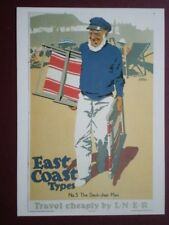 POSTCARD NRM 33 1931 LNER POSTER - DECK CHAIR MAN - EAST COAST TYPES NO 5