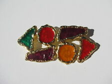 CONTEMPORARY ABSTRACT SHAPE GREEN RED EGGPLANT YELLOW ENAMEL DRIP GOLD FRAME PIN