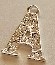 Rhinestone Crystal Initial Charm - A - Letter Alphabet