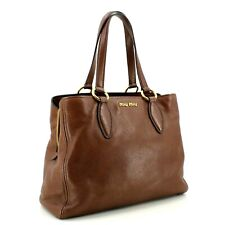 Authentic Miu Miu by Prada Lux Vitello Shoulder Bag Tote in Brown + Dustbag
