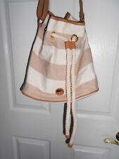 Tommy Hilfiger Bag Shoulder Strap Drawstring Bucket Bag Tan Cream Stripes