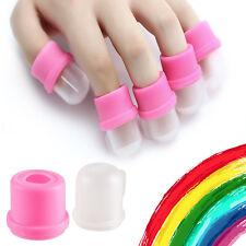 Wearable Nail Acrylic Soaker Kit Polish Remover Gel Removal Cap Tip Pink 10Pcs