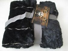"HUTTON WILKINSON BLACK SEQUINED FAUX FUR THROW SIZE -  52"" X 60""- NEW W TAG"
