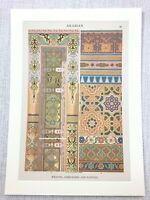 1883 Antique Print Arabian Embroidery Weaving Islamic Art Chromolithograph