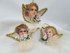 Cherub Angel Ornaments  Beads Tinsel & Angel Hair Set of 3 Renaissance