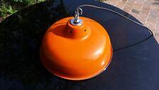 Lampe Abat Jour Industriel Suspension Métal Tôle émaillée Orange Atelier Usine