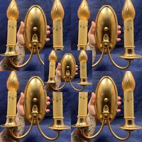 Set Of Five 5 Antique Two Arm Brass Wall Sconces Rewired 88A