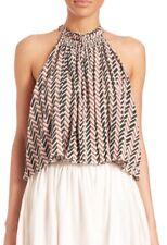 APiece Apart Pink Olivera Ruffled Halter Silk Crop Top Blouse Size 4