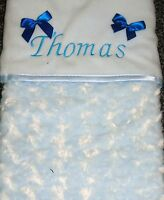 Luxurious Personalised  Baby Blanket Embossed Rosebud Blue Boy Newborn Gift