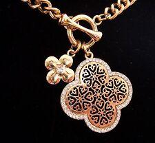 Farbe Gold - Collier Kette 45 cm + 2 Anhänger Kreuz Ornament mit Kristallen NEU