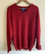 Pendelton L Men's Sweater V-Neck Pullover Long Sleeve Cable Knit Red Lambs Wool