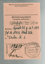 1941 Germany Dachau Concentration Camp money order Receipt KZ Johan Lipinski