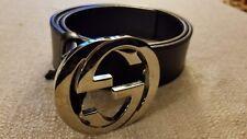 GUCCI Authentic Men's GG Logo Leather Belt Black size 36