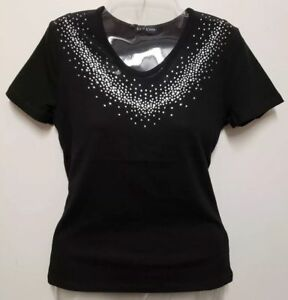 Bebe Mesh Top Tease Rhinestone Black Shirt Stretch #2211-R17