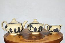 Antique Wedgwood Yellow Jasper Ware Tea Set (3 pieces) with Black Relief, c.1920