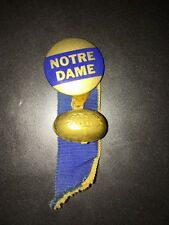 vintage 1940s NOTRE DAME PIN BUTTON with ribbons & tin gold football charm rare