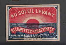 Ancienne étiquette de paquet    allumettes  MM130 Au soleil Levant Belgique