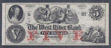 19th Century US Obsolete Currency - The West River Bank, $5 - Unc, Unissued