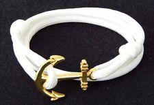 Anchor Bracelet Nautical Paracord White Men Women Fashion Vintage Hand Made USA