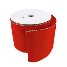 Red Velvet Christmas Ribbon Wired Edge, 5 Yards, 10 Yards, 50 Yards