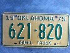 Vintage Old License Plate Oklahoma Com'l Truck 1975