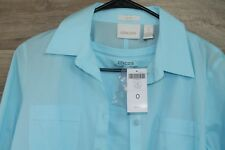 Chicos Sz 0 Ladies Aqua No Iron Cotton Button up LS Blouse Top & Undershirt