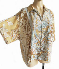 VINTAGE EIGHTIES beige batik pattern Ladies blouse UK size 22 VISCOSE, 132 chest