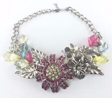 CHICO'S Silver Statement Necklace Colorful Crystal Flowers Gems Butterfly RARE