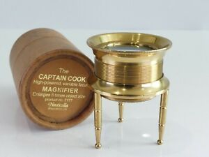 HIGH POWERED VARIABLE BRASS FOCUS 8X MAGNIFIER LOUPE CAPTAIN COOK D*15