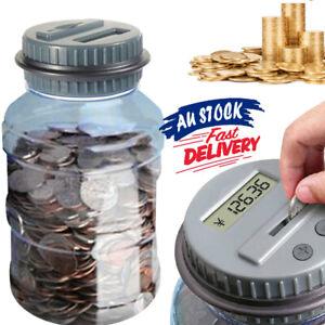 LCD Jar Counter Counting Digital Bank Money Coin Saving Box Electronic