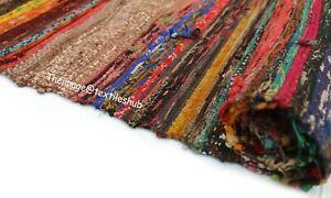Indian Brown Multi Handmade Chindi Rug Floor Yoga Mat Area Rug Mat Carpet 3x5 Ft