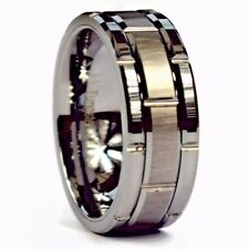 GROOVED TUNGSTEN CARBIDE WEDDING RING BRUSHED & POLISHED BAND