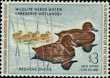 "RW#27 1960 $3 ""REDHEAD DUCKS"" DUCK STAMP MINT-OG/NH--SUPERB GEM"