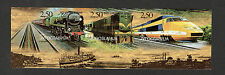 YUGOSLAVIA-BL. OF 3 IMPERFORATED STAMPS-LOCOMOTIVES-STAMPS ARE FROM BOOKLET-1998