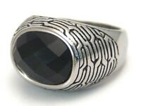 Men's Black Ring Surgical Steel Faceted Bold Size 10.5 Hypoallergenic