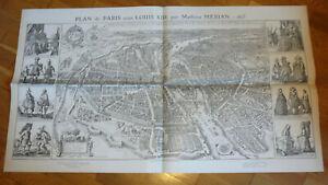 PLAN DE PARIS SOUS LOUIS XIII PAR MATHIEU MERIAN.1615.TARIDE FAC SIMILE DE 1908