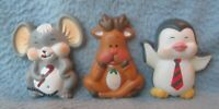 Lot Of 3 Vintage Apollo Christmas 3D Magnets Mouse Reindeer Penguin Refrigerator