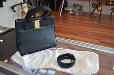 Auth. Salvatore Ferragamo Bow Black Leather Hand Bag Purse W/ Pouch - Vintage