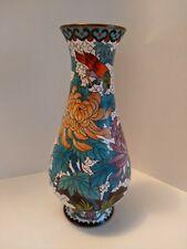 """Vintage Chinese Cloisonne Enamel 8"""" Vase Peony Flowers and Birds"""
