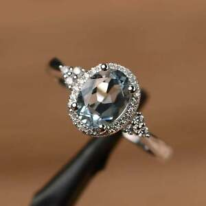 Natural Aquamarine Ring Romantic Wedding Engagement Ring Oval Cut Sterling Ring