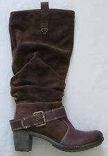 $239 JOSEF SEIBEL Savanna Slouch Suede Leather Buckle Boots Brown Sz 38 7.5