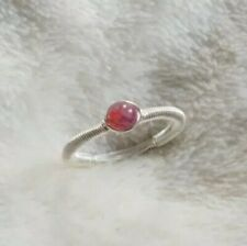 Sterling Silver Wire Wrap Pink Tourmaline Ring Handmade Size K