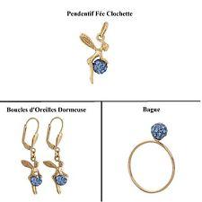 Dolly-Bijoux Pendentif La fée Clochette 3D Boule de Cristal Bleu Plaqué Or 18k