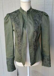 International Concepts small Green Zip up Blazer W/ Crochet Detail puff sleeve