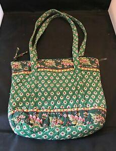 Vintage Vera Bradley Green With Flowers Tote Bag.
